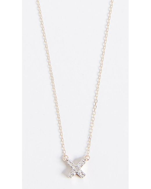 Adina Reyter | Metallic 14k Gold Super Tiny Solid Pave X Necklace | Lyst
