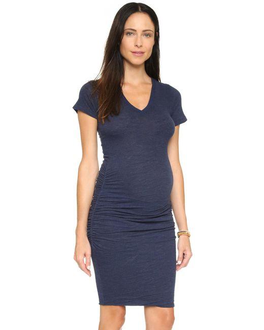 Monrow | Blue Maternity Shirred Tee Dress | Lyst