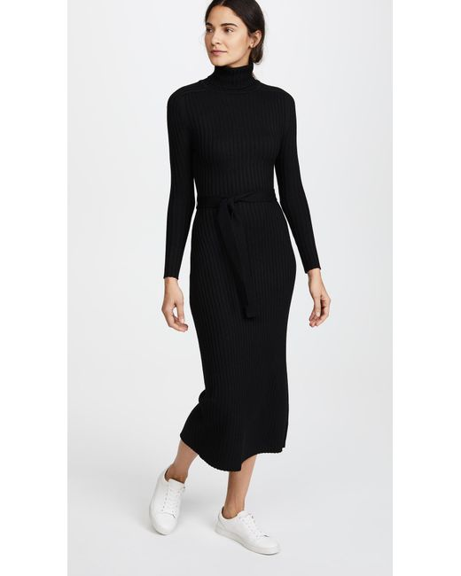 TOME - Black Long Sleeve Turtleneck Maxi Dress - Lyst