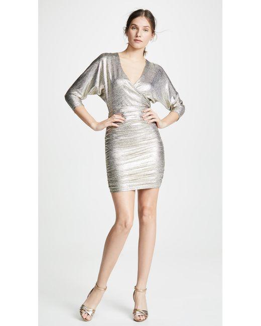 Alice + Olivia - Metallic Pace Bat Wing Sleeve Drapey Dress - Lyst ... 3c511a98d