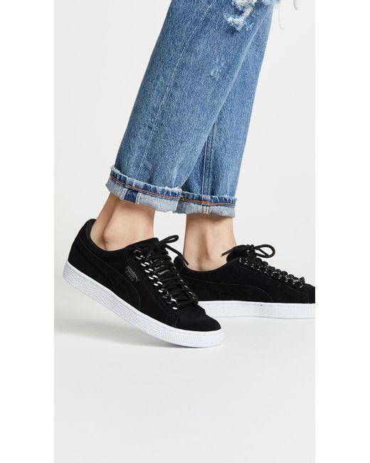 0e0e2f463d68 ... PUMA - Black Suede Chain Sneakers - Lyst ...