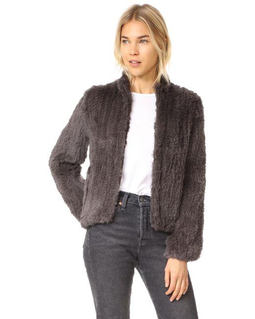 June | Multicolor Knitted Fur Bomber Jacket | Lyst