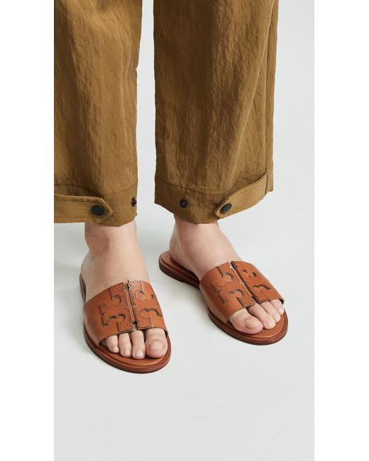 55a30551ddb5 ... Tory Burch - Brown Ines Slide Sandals - Lyst ...
