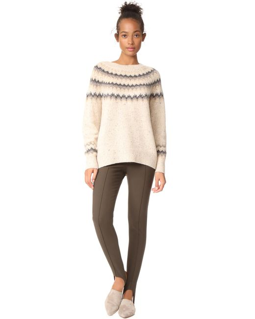 Lyst - Vince Fair Isle Cashmere Jumper in Natural - Save 40%