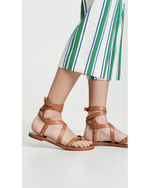 9346bcc19a04 ... Tory Burch - Brown Ravello Studded Ankle Wrap Sandals - Lyst ...