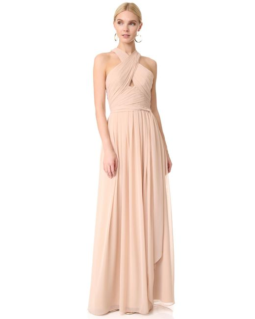 Monique Lhuillier Bridesmaids | Pink Halter Gown With Cutout | Lyst
