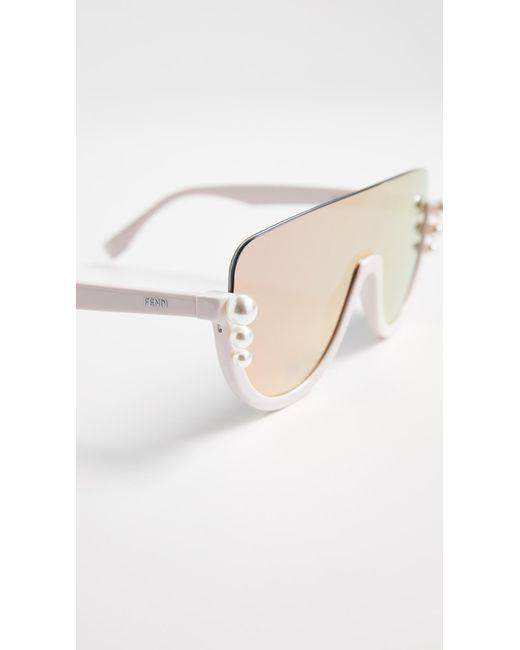 Lyst - Fendi Bottom Frame Imitation Pearl Sunglasses