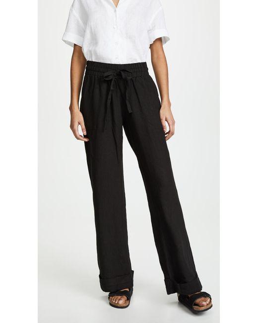 6090050030 Three Dots - Black Cuffed Linen Beach Pants - Lyst ...