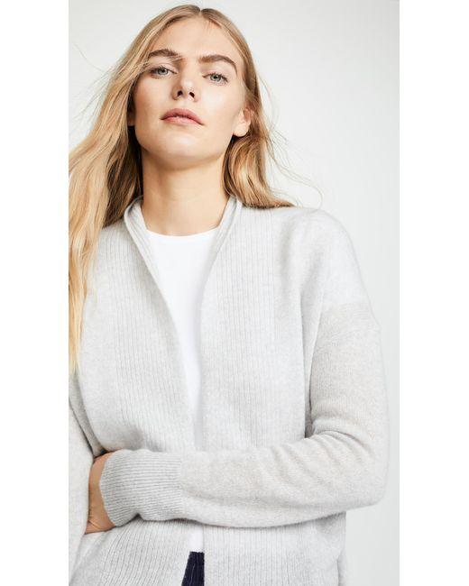 ... White + Warren - White Pocket Open Cardigan - Lyst ... 982e43537
