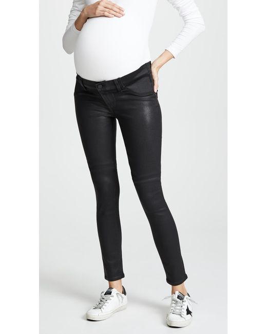 cb3ad2e7bcfd9 PAIGE - Black Coated Verdugo Ultra Skinny Maternity Jeans - Lyst ...