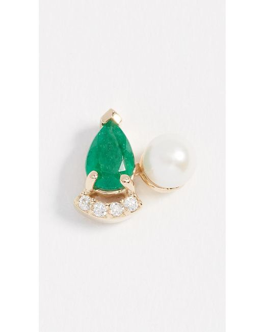 Paige Novick - Green Diamond & Emerald 18k Earrings With Cultured Freshwater Pearl - Lyst