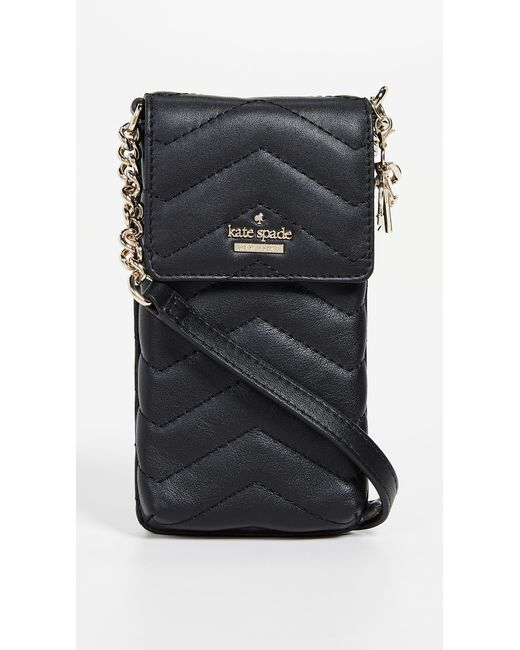 Kate Spade - Black Quilted Phone Cross Body Bag - Lyst