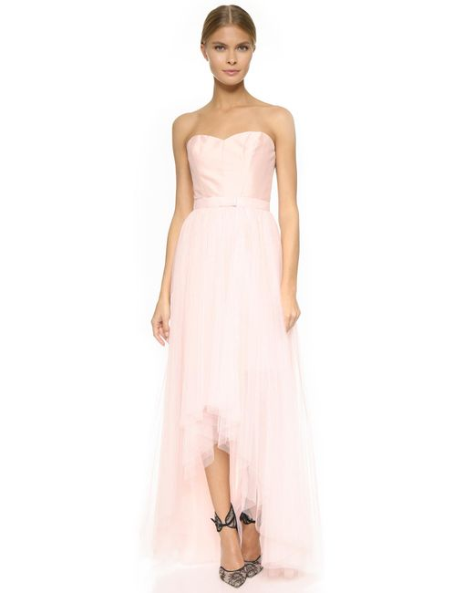 Monique Lhuillier Bridesmaids   Pink Strapless Dress With Removable Skirt   Lyst