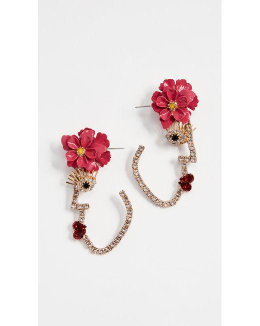 Elizabeth Cole - Pink Flower Face Earrings - Lyst