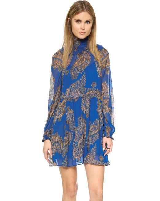 Free People | Blue Forget Me Not Moonstruck Mini Dress - Black Combo | Lyst