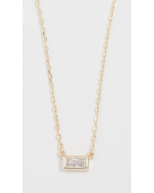 Shashi - Metallic Baguette Solitaire Necklace - Lyst