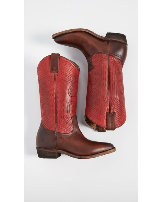 b3f8be13772 Frye Billy Stitch Pull On Boots in Red - Lyst