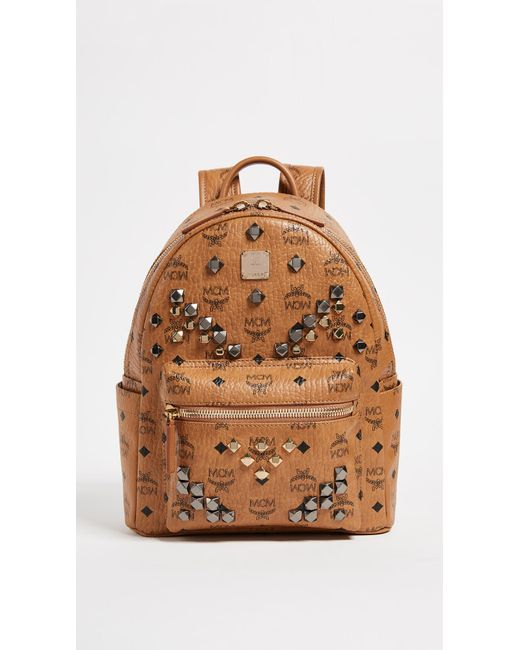 MCM - Brown M Stud Small Stark Backpack - Lyst