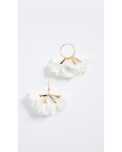 Shashi - White Rose Hoop Earrings - Lyst