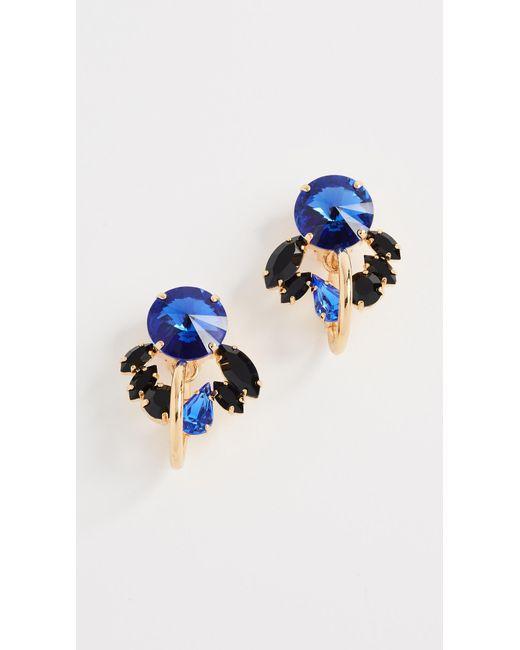 Marni | Blue Metal & Strass Clip On Earrings | Lyst