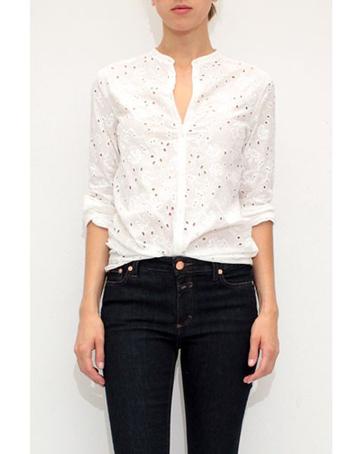 Massimo alba eyelet collar shirt in white lyst for Mens eyelet collar dress shirts