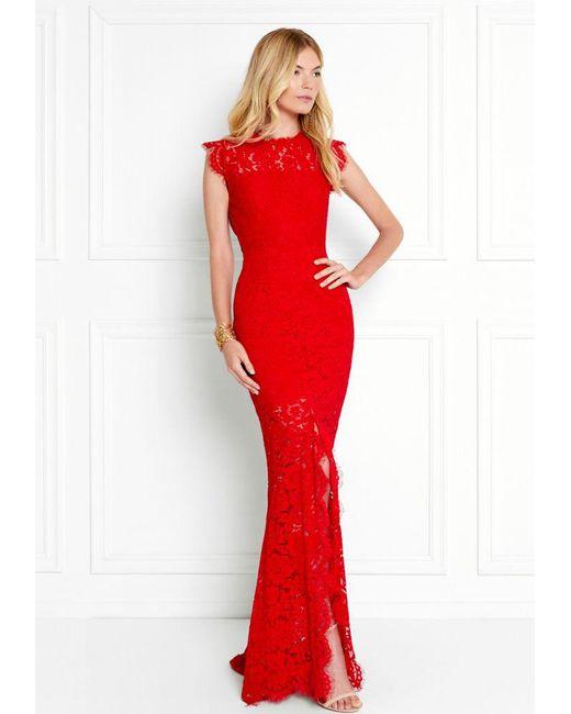 Lyst - Rachel Zoe Estelle Open-back Lace Gown in Red