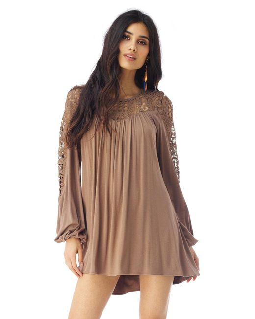 Sky | Brown Gridee Mini Dress | Lyst