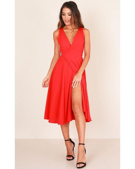 Showpo - Classic Lady Midi Dress In Red - Lyst
