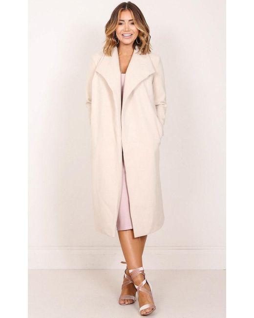 Showpo - Natural New York's Calling Coat In Beige - Lyst