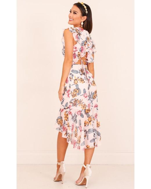 Showpo - Pink Tighten The Strings Dress In Blush Floral - Lyst