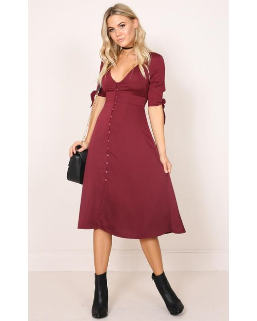 Showpo | Red The Limelight Dress In Wine | Lyst