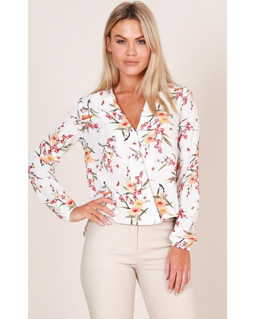 Showpo | Time To Wine Down Top In White Floral | Lyst