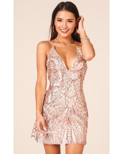 Showpo - Metallic Standing Too Close Dress In Gold Sequin - Lyst