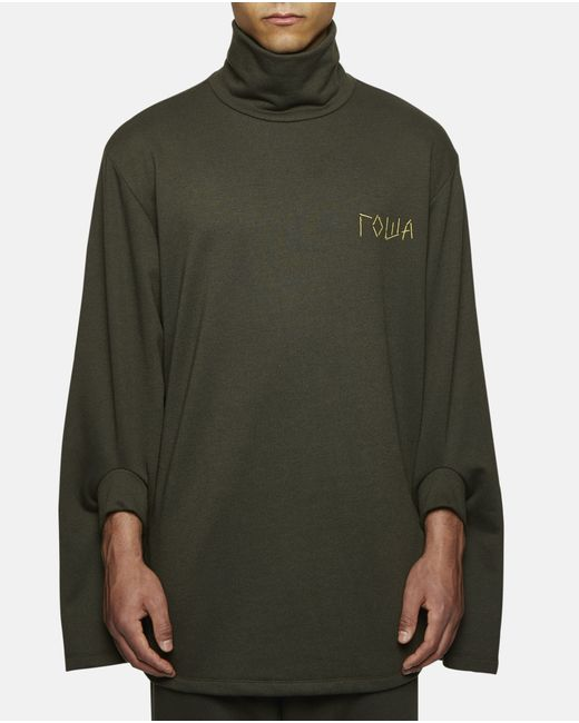 Gosha rubchinskiy double cuffed turtleneck sweat with for Mens shirts with cufflink holes