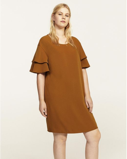 Simply Be - Brown Violeta By Mango Fluted Sleeve Dress - Lyst
