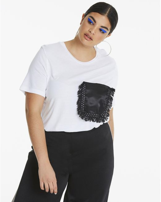 Simply Be - White Fringe Pocket T-shirt - Lyst
