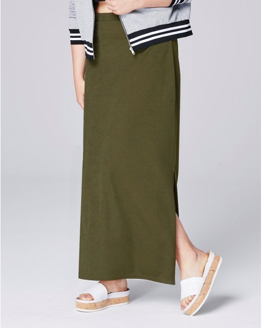 Simply Be - Green Double Split Crepe Maxi Tube Skirt - Lyst