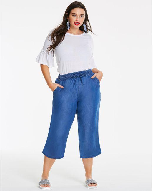 Simply Be - Blue Split Low Hem Soft Lyocell Denim Wide Leg Culotte - Lyst