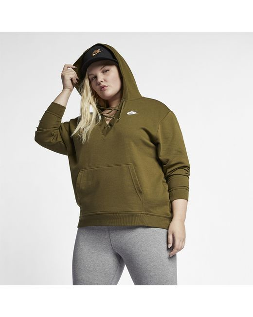 0a1c415ea939 Lyst - Nike Rally Lace-up Hoodie Plus Size in Green