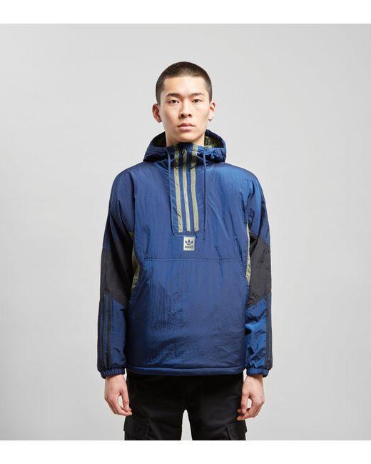 fe0db956c3dc5 Adidas Originals - Blue Half-zip Anorak for Men - Lyst ...