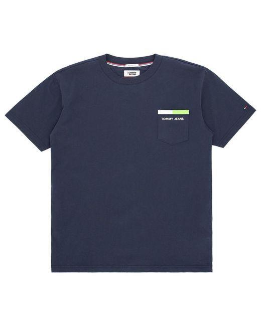cbef370136 Tommy Hilfiger - Blue Back Stripe T-shirt for Men - Lyst ...