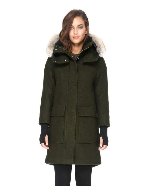 SOIA & KYO - Green Karine-c Relaxed Fit Boiled Wool Coat With Fur Trim - Lyst