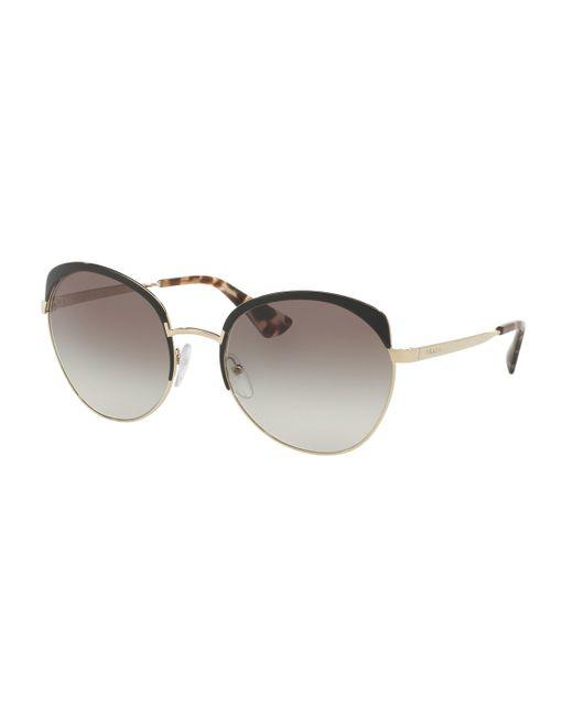 Prada - Gray 54ss Round Sunglasses - Lyst