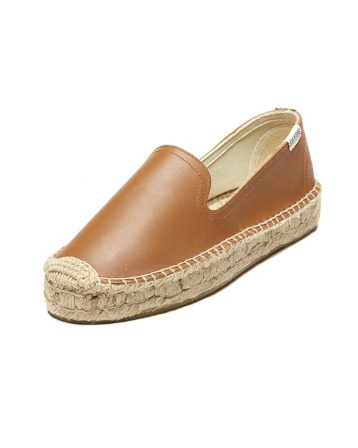 Soludos | Brown Leather Platform Espadrille Flats | Lyst