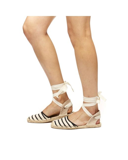 Soludos | White Striped Espadrille Sandals | Lyst