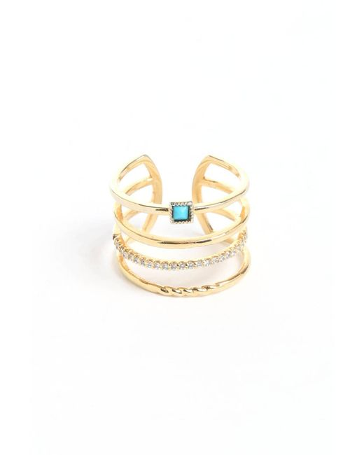 Tai | Metallic Turquoise Stone Gold Stacked Ring | Lyst