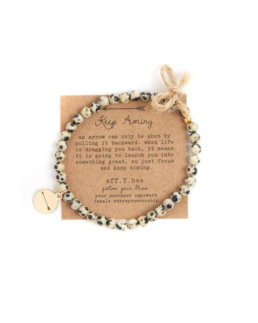 eff.Y.bee | Metallic Mini Bliss Dalmatian Jasper Beaded Arrow Charm Bracelet | Lyst