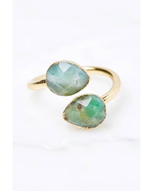 South Moon Under - Green Amazonite Teardrop Ring - Lyst