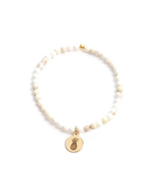 eff.Y.bee - White Mini Bliss Howlite Beaded Pineapple Charm Bracelet - Lyst