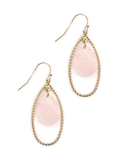 South Moon Under - Pink Rose Crystal Teardrop Earrings - Lyst